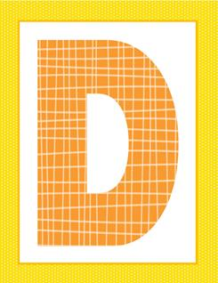 alphabet letter d - plaid and polka dot