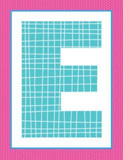alphabet letter e - plaid and polka dot