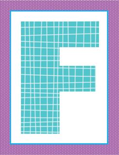 alphabet letter f - plaid and polka dot