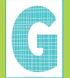 alphabet letter g - plaid and polka dot