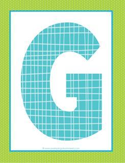 alphabet letter g - plaid and polka dot