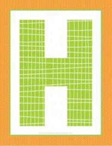alphabet letter h - plaid and polka dot