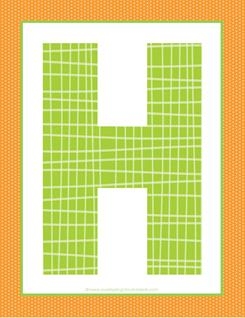 alphabet letter h - plaid and polka dot