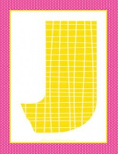 alphabet letter j - plaid and polka dot