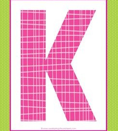 alphabet letter k - plaid and polka dot