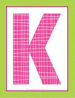 alphabet letter k - plaid and polka dot