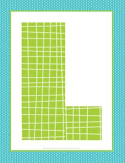 alphabet letter l - plaid and polka dot
