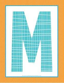 alphabet letter m - plaid and polka dot