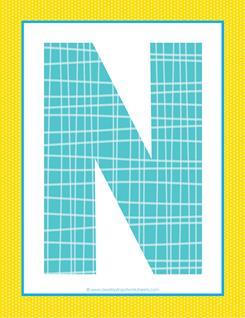 alphabet letter n - plaid and polka dot