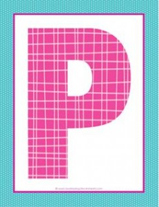 alphabet letter p - plaid and polka dot