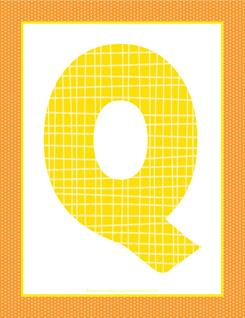 alphabet letter q - plaid and polka dot