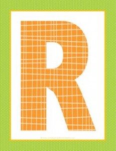 alphabet letter r - plaid and polka dot