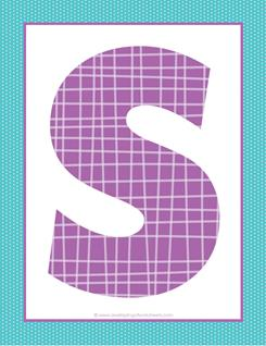 alphabet letter s - plaid and polka dot