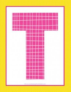 alphabet letter t - plaid and polka dot