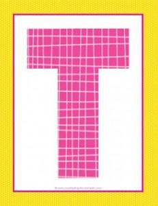 alphabet letter t - plaid and polka dot