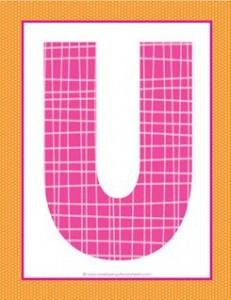 alphabet letter u - plaid and polka dot