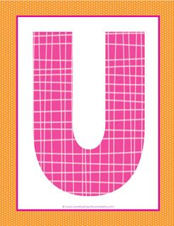 alphabet letter u - plaid and polka dot