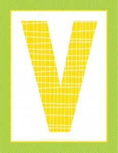 alphabet letter v - plaid and polka dot