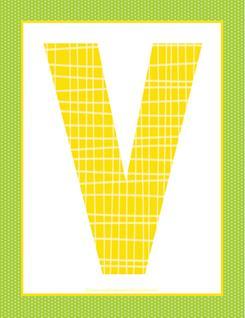 alphabet letter v - plaid and polka dot