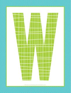 alphabet letter w - plaid and polka dot