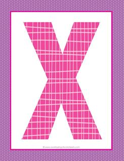 alphabet letter x - plaid and polka dot