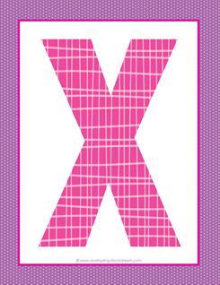 alphabet letter x - plaid and polka dot