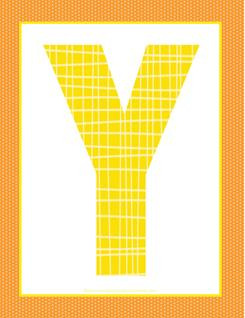 alphabet letter y - plaid and polka dot