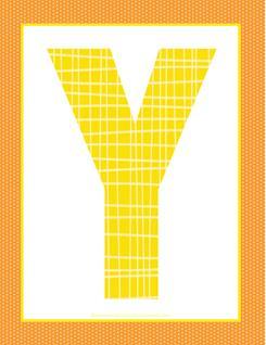 alphabet letter y - plaid and polka dot