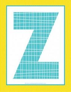 alphabet letter z - plaid and polka dot