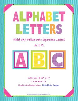 alphabet letters plaid and polka dot whole set