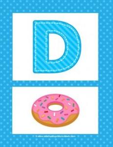 Alphabet Poster - Uppercase D. Part of a set of pretty and cheerful uppercase alphabet posters.