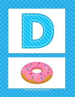 Alphabet Poster - Uppercase D. Part of a set of pretty and cheerful uppercase alphabet posters.