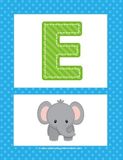 Alphabet Poster - Uppercase E. Part of a set of cheerful alphabet posters.