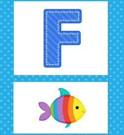 Alphabet Poster - Uppercase F. Part of a set of colorful uppercase alphabet posters.
