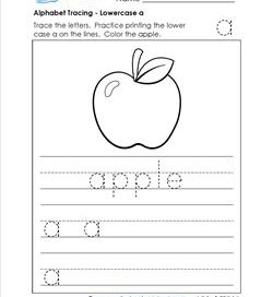 alphabet tracing - lowercase a