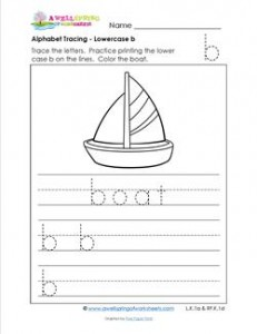 alphabet tracing - lowercase b