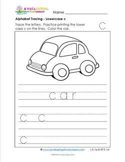 alphabet tracing - lowercase c