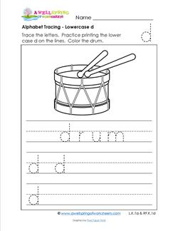 alphabet tracing - lowercase d