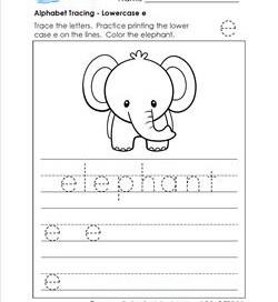 alphabet tracing - lowercase e