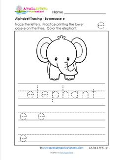 alphabet tracing - lowercase e