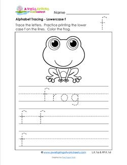 alphabet tracing - lowercase f