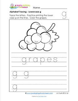 alphabet tracing - lowercase g