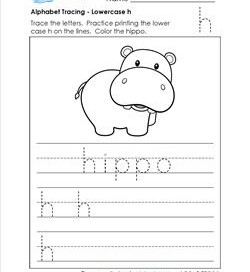 alphabet tracing - lowercase h