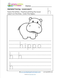 alphabet tracing - lowercase h
