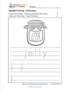 alphabet tracing - Lowercase j