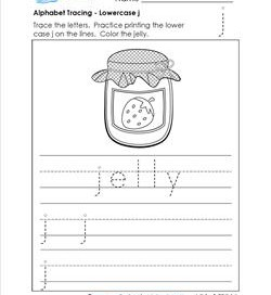 alphabet tracing - Lowercase j