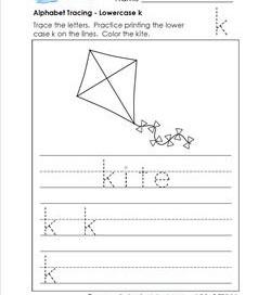 alphabet tracing - lowercase k