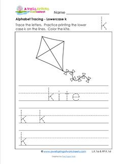 alphabet tracing - lowercase k