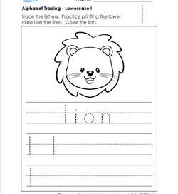 alphabet tracing - lowercase l