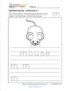 alphabet tracing - lowercase m